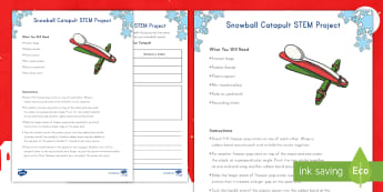 Snowball Catapult STEM Activity - STEM, Christmas, Winter, Catapult, Snowball, Measurement, Inches, Math