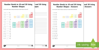 Number Bonds to 10 and 20 Using Number Shapes Worksheet / Activity Sheet - Numbers With Number Shapes 0-20 Display - numbers, number shapes, 0-20, display,numbes,nubers,shpes,