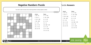 Negative Number Puzzle Activity Sheet - Number and Place Value, worksheet, Solve number and practical problems that involve all of the above