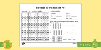 Ficha de actividad: La tabla de multiplicar x8 - tabla de multiplicar, múltiplos, ficha, mates, matemáticas, x8, por ocho, multiplicar, multiplicac