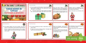 Calcul mintal de Crăciun Cartonașe cu provocări - calcule matematice, calcul mintal, calcul mental, probleme, adunări, scăderi, înmulțiri