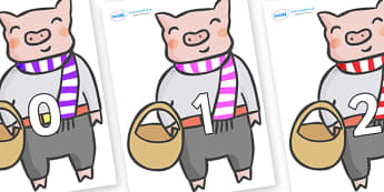 Numbers 0-50 on Little Piggy - 0-50, foundation stage numeracy, Number recognition, Number flashcards, counting, number frieze, Display numbers, number posters