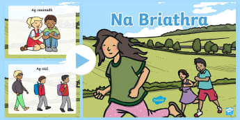 Match the Verb with the Picture PowerPoint Gaeilge - Verbs, Na Briathra, Gaeilge, Powerpoint, Game, Irish