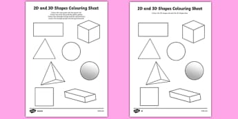 2D and 3D Shapes Colouring Sheets - 3D, 2D, 3D shapes, shapes names, colouring, fine motor skills, poster, worksheet, vines, shape recognition, shapes, numeracy, shapes, 2d, 3d