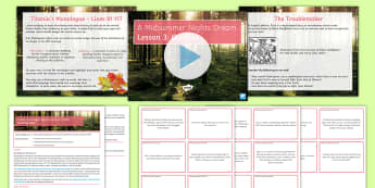 A Midsummer Night's Dream Lesson Pack  - A Midsummer Night's Dream, theme, conflict