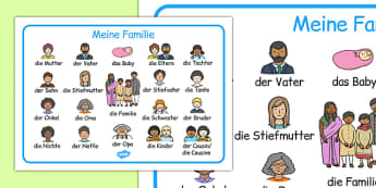 Meine Familie Word Mat German - german, family, word mat, word, mat, language