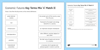 Economic Futures Mix and Match 2 Activity Sheet - ks4, gcse, key, terms, glossary, development