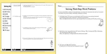 Differentiated Two-Step Maths Word Problems Worksheet / Activity Sheet Pack - maths, problems, worksheet