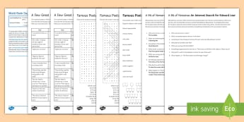 World Poetry Day Activity Pack - World Poetry Day, poetry, poems, english, ks3/4, Edward Lear, Nonsense poetry, wordsearch, English L