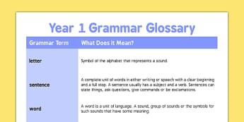 Year 1 Grammar Glossary - year 1, glossary, grammar, english