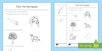 Color the Correct Homograph Worksheet / Activity Sheet - Homograph, ELA, Kindergarten, Common Core, Sentences, Word Meaning