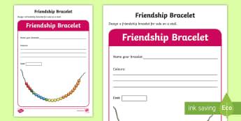 KS1 Design a Friendship Bracelet Worksheet / Activity Sheet - enterprise, idea, sale, cost, sell, money, worksheet