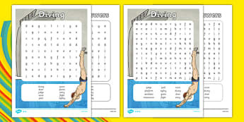 Olympics Diving Differentiated Word Search - dive, words, literacy, Rio Olympics, sports