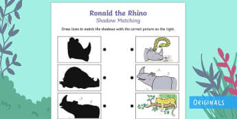 Ronald the Rhino Shadow Matching Activity Sheet - Ronald the Rhino, rhyming, pattern, story, jungle, Africa, rhino,
