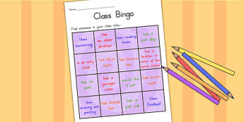 Class Welcome Transition Bingo Board - welcome, transition, bingo