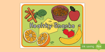 Healthy Snacks Display Poster - grapes, coconut, food groups, eating.