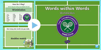 KS1 Wimbledon Words within Words PowerPoint Game - tennis, reading, year 1, year 2, sports, PE