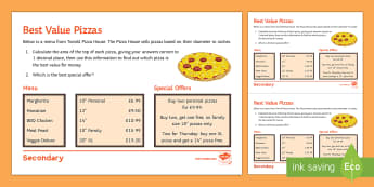 Best Value Pizzas Activity Sheet - pizza, pi, area, circumference, circles, best value, best buy, worksheet