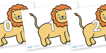 Numbers 0-100 on Lions - 0-100, foundation stage numeracy, Number recognition, Number flashcards, counting, number frieze, Display numbers, number posters