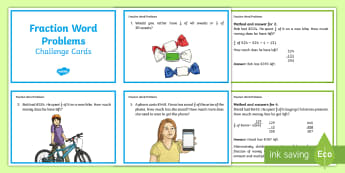 Fractions Word Problem Challenge Cards - division, solve, dividing, multiplication, addition, subtraction, finding fractions of amounts