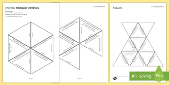 Enzymes Tarsia Triangular Dominoes - Tarsia, gcse, biology, enzyme, enzymes, enzyme action, lock and key, induced fit, substrate, active , plenary activity