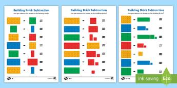 Building Brick Subtraction Worksheet / Activity Sheets - maths, mathematics, subtracting, subtract, take away, minus, count, bricks, lego, duplo, worksheet,