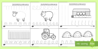 On the Farm Pencil Control Worksheet / Activity Sheets Romanian/English - EAL, on the farm, on the farm pencil control, on the farm writing worksheets, learn to write workshe
