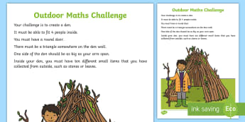 Marvellous Maths - A Week Outside Challenge Early Level Activity - IDL, maths week, outdoor learning, co operative Learning, Initiative ,Scottish