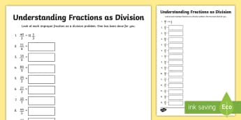 Understanding Fractions as Division Activity Sheet - Fractions, Division, Mixed Numbers, improper fractions, operations and algebraic thinking, worksheet