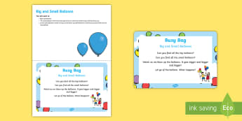 Big and Small Balloons  Busy Bag Prompt Card and Resource Pack - Under 2s, Early Concept, Baby, little