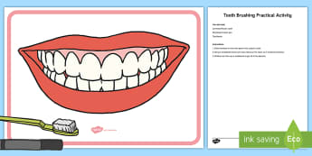 Tooth Brushing Practical Activity - teeth, brush, toothbrush, dentist, dental hygeine, hygeine, healthy, clean teeth, mouth,