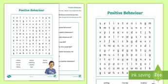 Positive Behaviour Word Search Activity Sheet - behaviour, feelings, emotions, wordsearch, fun, PSHCE, worksheet