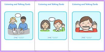 Listening and Talking Cards - Good listening, listen, flascard, cards, behaviour management, SEN, good sitting, good listening, good looking, lips closed, listening, brain box