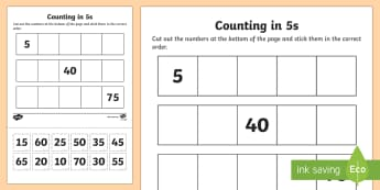 Counting in 5s Cut and Stick Worksheet / Activity Sheet - counting aid, count, Count in 5s, fives, skip counting, multiply of five, numeracy, numbers, counting, counting in 5