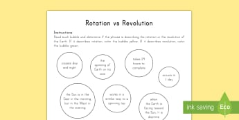 Earth Rotation vs Revolution Activity Sheet - Space, Earth, Earth and Space, Sun, Planets, Solar System, Universe, Stars, Orbit, Rotation, Revolut