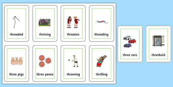 Two Syllable THR Flash Cards - speech sounds, phonology, articulation, speech therapy, cluster reduction