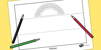 Malawi Flag Colouring Sheet - countries, geography, colour