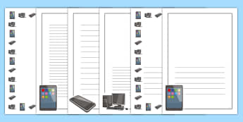 ICT Full Page Borders - page border, border, frame, writing frame, writing template, ICT, computers, ICT page borders, ICT writing frames, writing aid, writing, A4 page, page edge, writing activities, lined page, lined pages, reading and writing