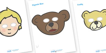 Where's My Teddy Role Play Masks - Where's My Teddy, teddy, woods, forest, lost, bear, role play mask, role play, reading, story, story book, story resources
