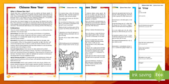 Chinese New Year Differentiated Reading Comprehension Activity English/Afrikaans - January, celebrate, traditions, facts, legends, feite, legende, EAL