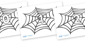 Numbers 0-50 on Spiders Web - 0-50, foundation stage numeracy, Number recognition, Number flashcards, counting, number frieze, Display numbers, number posters