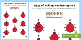 Ways of Making Numbers up to 5 Activity Sheet  - worksheet, number bonds, pairs, counting, adding, ladybugs, ladybirds,Irish