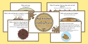 Mud Pie Kitchen Role Play Challenge Cards Arabic Translation