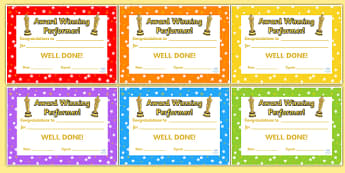 Award Winning Performance Certificates - award winning performance, certificates, reward certificates, certificate template, behaviour management
