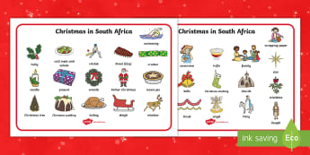 Christmas in South Africa Word Mat - word mat, vocab, summer, christmas, creative writing