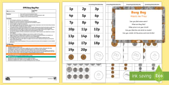 EYFS Match the Price Busy Bag Plan and Resource Pack - coins, price, money, addition, matching, value, connecting bricks, early maths, table top activity,