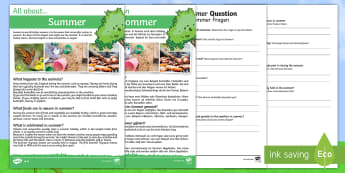 Summer Differentiated Reading Comprehension Activity English/German - Summer Comprehension Differentiated Activity Sheets - summer, reading, comprehension questions, answ