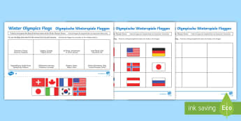 Winter Olympics Host Nation Flags Activity Sheet English/German - map, atlas, world, countries, cities, EAL, German, English-German,,German-translation