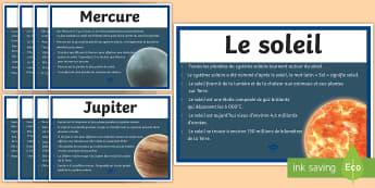 Posters d'affichage : Le système solaire - Planètes, Terre, Saturne, science, cycle 3,French
