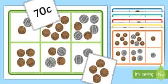 Money Bingo to 1 Dollar Using 10c, 20c, 50c coins - nz, new zealand, money, bingo, game, activity, 1 dollar, coins, cents